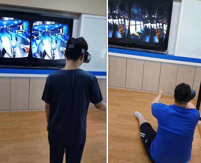 오상철 씨가 360도 카메라를 활용해 직접 촬영한 영상과 VR 기기를 이용해 대중교통을 이용해보는 학생들. 이후 패스트푸드 이용하기, 영화관 가기 등 다양한 주제로 영상을 제작해 활용하고 있다
