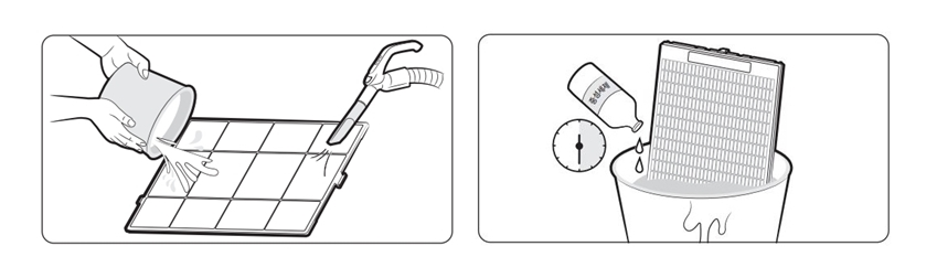 ▲(좌)극세 필터 · (우)필터 세이버 청소 방법