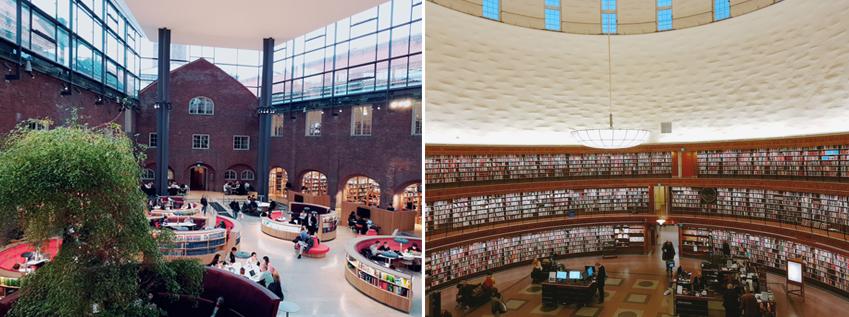 ▲스웨덴왕립공학대학 도서관 내부(왼쪽 사진). 높은 천장이 이용객의 상상력을 자극한다 . 360도 원형 서가를 보유한 스톡홀름공립도서관은 국내에서도 화제를 불러모았다