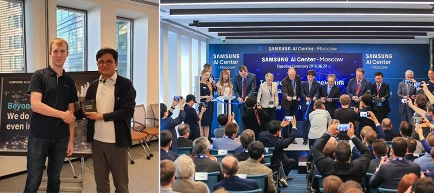 삼성전자 모스크바 AI센터 파블 오스챠코브 연구원(왼쪽)과 삼성리서치 이진욱 러시아연구소장(상무). 오른쪽 사진은 5월 모스크바 AI센터 개소식 장면