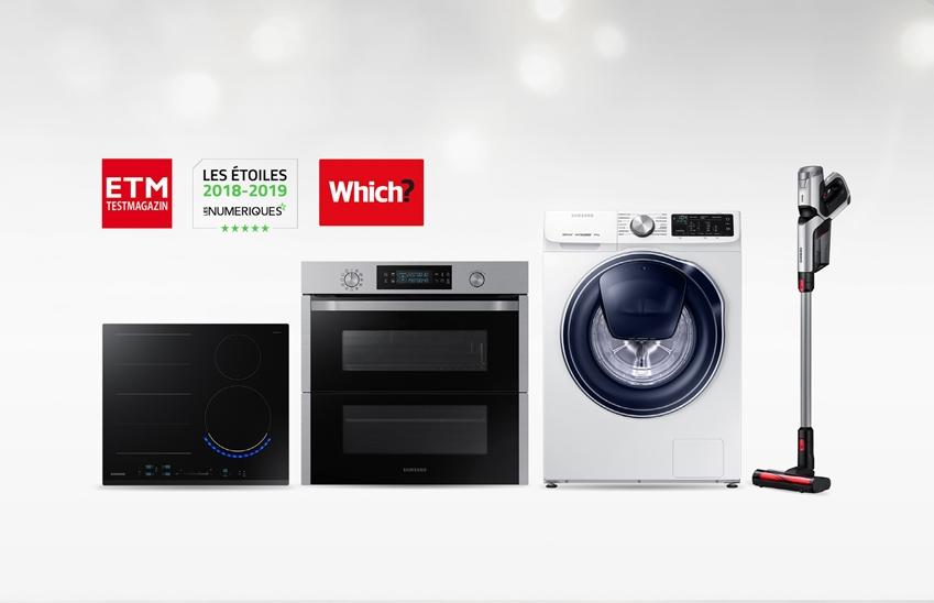 삼성전자 생활가전 제품이 유럽의 주요 소비자 매거진으로부터 잇따라 최고 제품으로 평가 받았다. 수상받은 제품은 '파워건' 무선 청소기(VS8000N), 전기레인지 인덕션(NZ6000K), 빌트인 오븐(NV7000N)과 '퀵드라이브' 세탁기(WW90M645OPW)