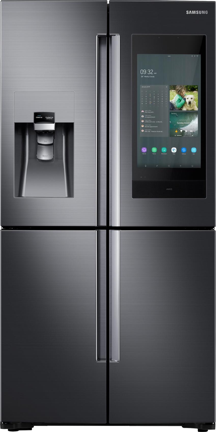 삼성전자가 미국 라스베이거스에서 열리는 세계 최대 전자 전시회 CES 2019에서 4년 연속 CES 혁신상을 수상한 2019년형 '패밀리허브' 냉장고 신제품을 공개했다. 사진 1은 삼성 2019년형 패밀리허브 제품(모델명: RF22N9781SG)