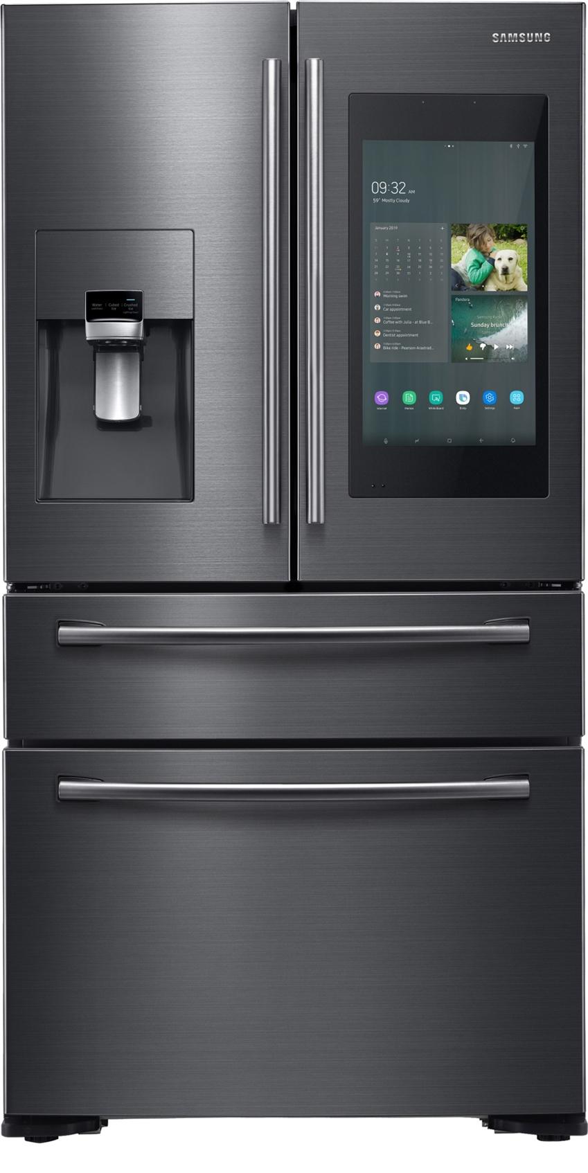 삼성전자가 미국 라스베이거스에서 열리는 세계 최대 전자 전시회 CES 2019에서 4년 연속 CES 혁신상을 수상한 2019년형 '패밀리허브' 냉장고 신제품을 공개했다. 사진 2는 삼성 2019년형 패밀리허브 제품(모델명: RF22NPEDBSG)