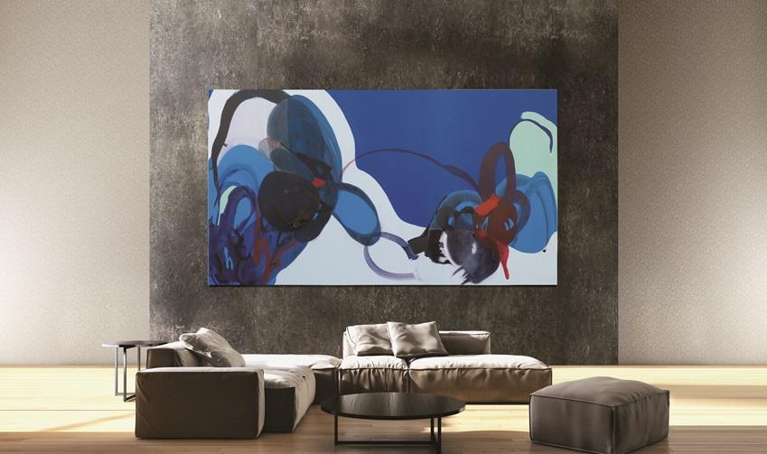 ▲ 더 월의 '월 모드(Wall mode)'를 통해 유명 작가의 아트 콘텐츠(Blue Abstract 2001, Stephanie Pryor)를 설정한 모습