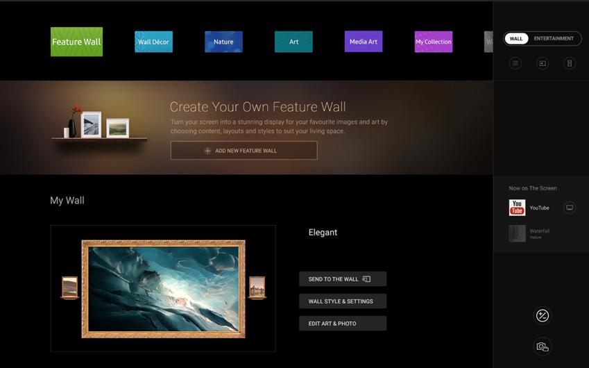▲ 더 월의 '월 모드(Wall mode)'는 움직이는 미디어아트, 자연을 모티브로 한 콘텐츠, 개인 소장용 이미지 설정 기능 등 총 7개의 카테고리로 구성돼 있다.