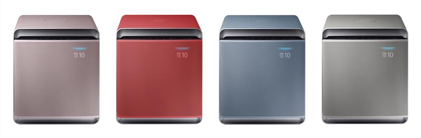 삼성전자가 프리미엄 공기청정기 '삼성 큐브'에 최근 인테리어 디자인 트렌드와 밀레니얼 세대의 선호도를 반영한 4가지 색상을 신규로 도입한다. 사진은 '삼성 큐브' 컬러 에디션. (좌측부터 차례대로) 프라임 핑크, 피치 오렌지, 세이지 블루, 콰이어트 그레이