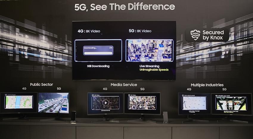 ▲ 삼성전자는 8K 비디오 스트리밍 비교 시연을 비롯해 다양한 5G 서비스 사례를 소개했다