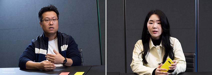 갤럭시 S10 시리즈의 디자인을 담당한 삼성전자 무선사업부 디자인팀 최두영, 신영미 씨