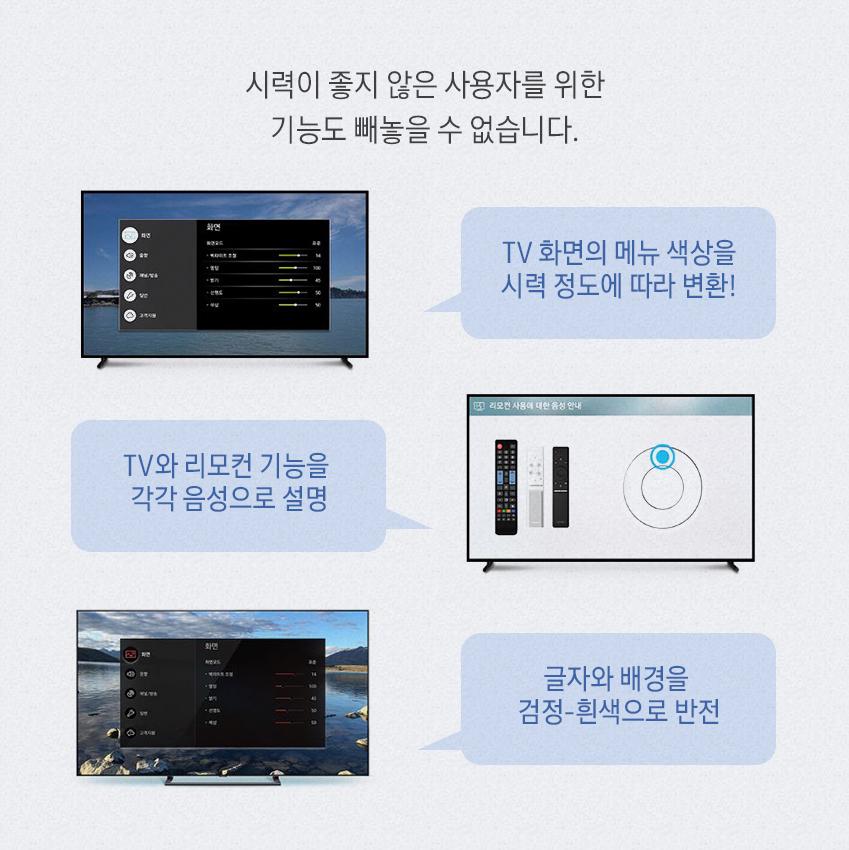 시력이 좋지 않은 사용자를 위한 기능도 빼놓을 수 없습니다. TV 화면의 메뉴 색상을 시력 정도에 따라 변환! TV와 리모컨 기능을 각각 음성으로 설명 글자와 배경을 검정-흰색으로 반전