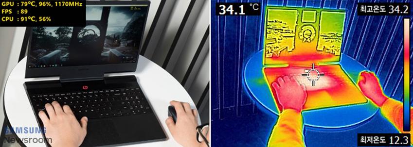 실제 노트북 사용 모습과 발열카메라로 촬영한 모습 비교 / GPU 79도씨 96%, 1170MHZ FPS:89 CPU 91도씨, 56% 34.1도씨 최고온도 34.2 최저온도 12.3