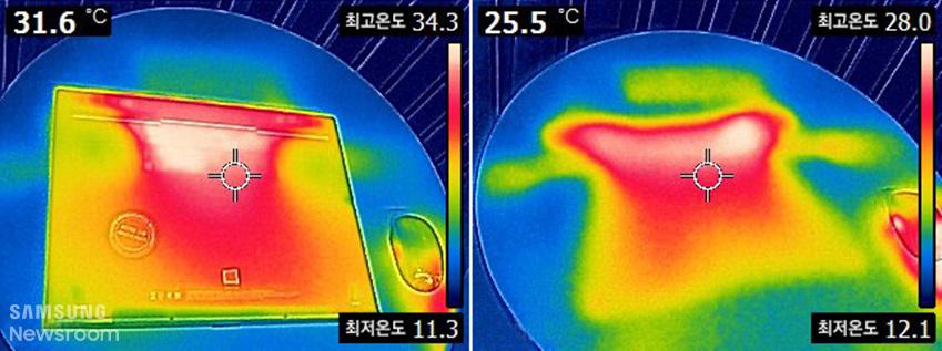 노트북과 바닥의 열기를 열화상 카메라로 촬영한 이미지 31.6도씨 최고온도 34.3도 최저온도 11.3도 / 25.5도씨 최고온도 28.0도 최저온도 12.1도
