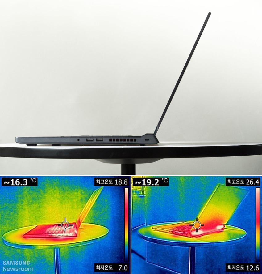 노트북 측면 모습과 노트북 주변의 온도를 열화상 카메라로 촬영한 이미지 ~16.3도씨 최고온도 18.8도 최저온도 7.0도 / ~19.2도씨 최고온도 26.4도 최저온도 12.6도