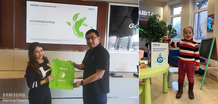 캐나다(왼쪽)와 우크라이나(오른쪽) 삼성전자 서비스센터에서 방문객들 대상으로 에코백을 증정하고, 폐배터리를 수거하는 등 친환경 캠페인을 진행하고 있다.