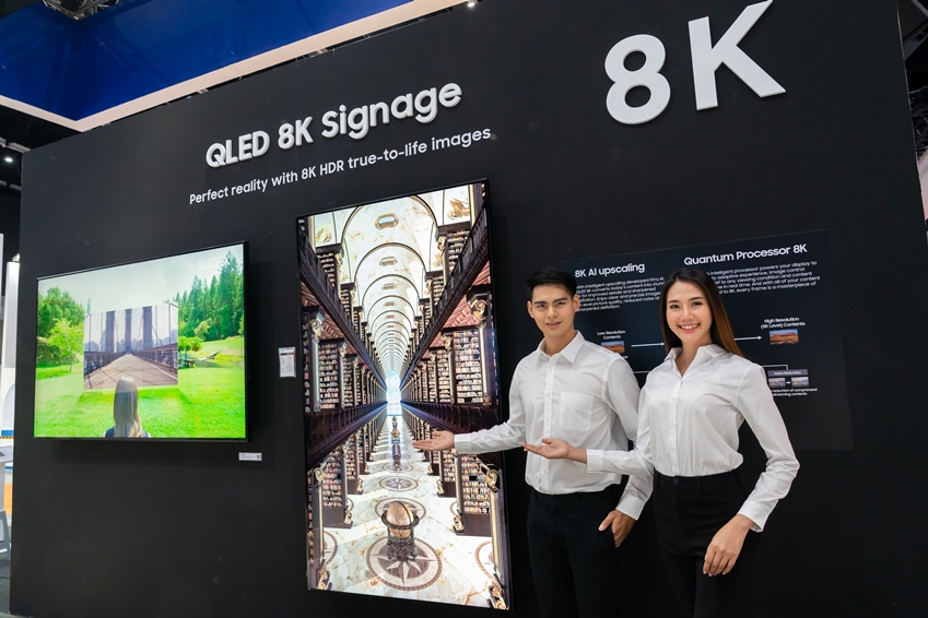 삼성전자가 15일부터 17일까지 태국 방콕에서 개최되는 디스플레이 전문 전시회 '동남아 인포콤 2019'에 참가해 퀀텀닷 소재 기술과 8K 고해상도를 접목해 최고의 화질을 구현한 상업용 'QLED 8K 사이니지'를 전시한다.