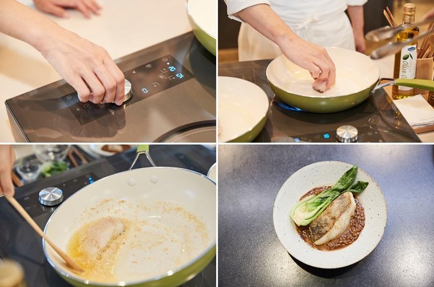 인덕션에 대구구이를 하는 요리 과정