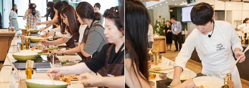 ▲ 요리에 한창인 파워블로거들의 모습. 이충후 셰프는 참가자들에게 1대1 맞춤 조언을 이어가며 다양한 요리 팁을 전했다.