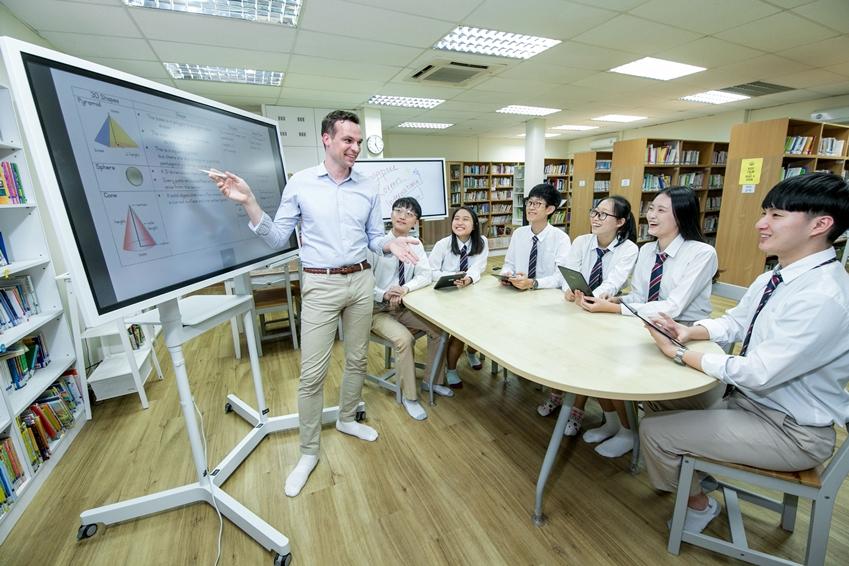 삼성 플립으로 수업중인 한 중학교