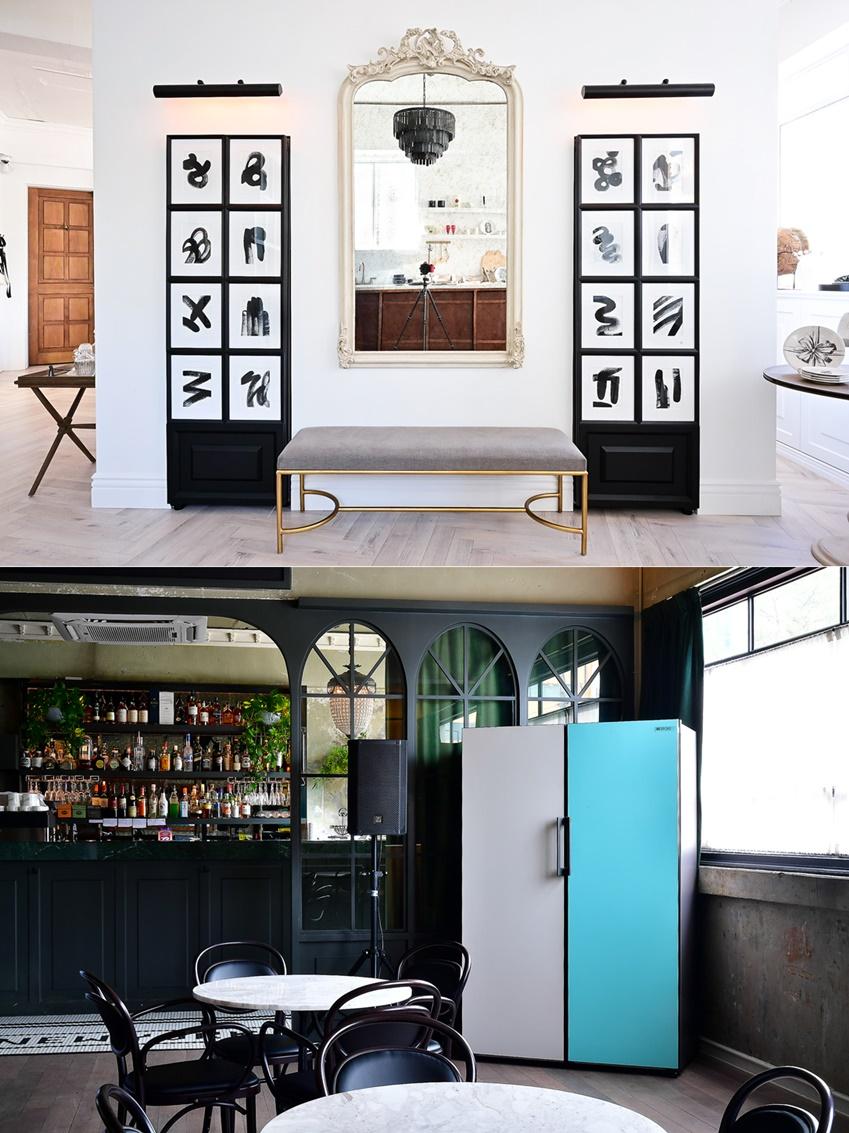 장호석 디자이너가 완성한 비스포크 냉장고. 서울 성수동에 위치한 그의 쇼룸이자 카페 '호스팅하우스'에 전시되어 있다.