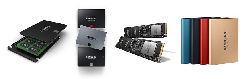 ▲ (왼쪽부터) 삼성전자 SSD '860 PROlEVOlQVO', '860 EVO', '970PROlEVO', 'T5'