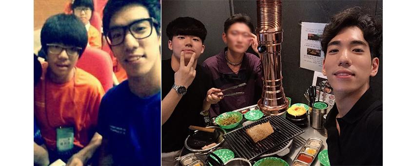 두 사람이 처음 멘토와 멘티로 만났던 2014년 사진(왼쪽)과 최근 두 사람이 만났던 날 사진(오른쪽)