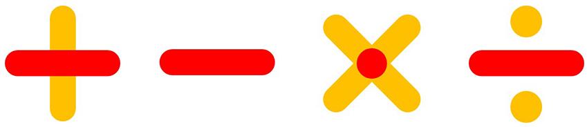 사칙 연산 부호에 있는 빨간 줄은 드림클래스가 추구하는 '교육의 평등'을 상징한다.