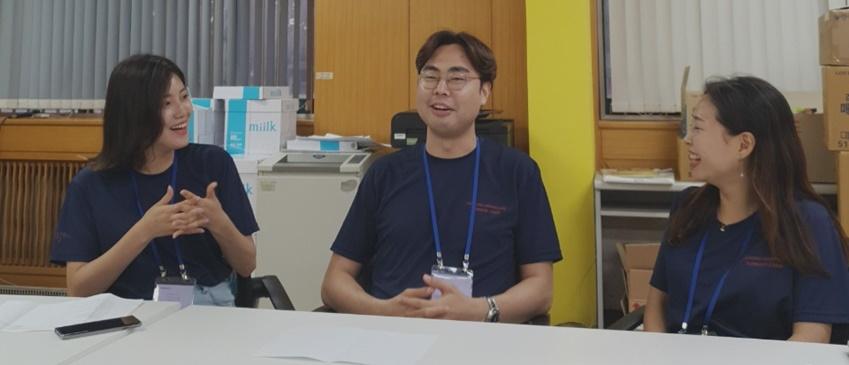 ▲ 드림클래스 운영 본부에서 만난 심보경, 김준우, 김유정 씨(왼쪽부터)