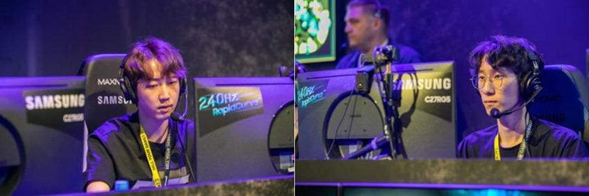 △ 240Hz CRG5로 리그 오브 레전드 이벤트 매치에 참여하고 있는 트위치 스트리머 '딩셉션'과 '윤루트'