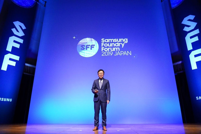 삼성전자 정은승 파운드리 사업부장이 4일 일본 도쿄 인터시티홀에서 열린 '삼성 파운드리 포럼 2019 재팬'에서 기조연설을 하고 있다.