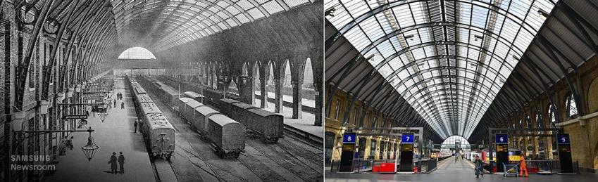 1850년대 석탄을 나르던 시절의 원형을 유지하고 있는 런던 킹스크로스 기차역
