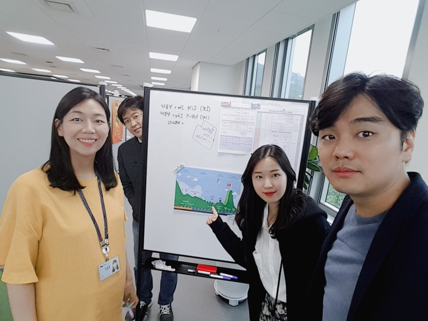 ▲ 2019 온라인 C랩 페어 기획담당자(왼쪽부터 배영인, 정재호, 안은주, 정동욱 프로)