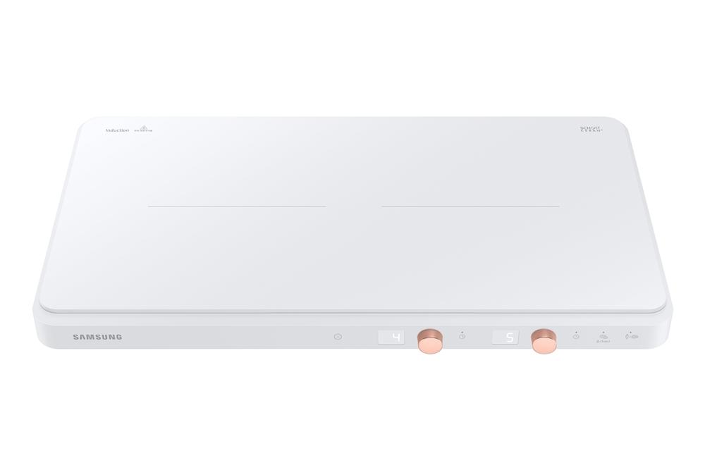 삼성전자 슬림 2구 인덕션 '더 플레이트 (The Plate)' 화이트 색상 (모델명: NZ60R7703PW)