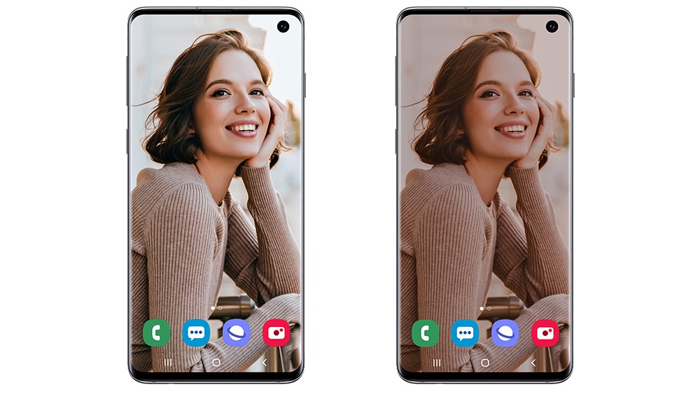 홈화면에 다크 모드 적용 전(왼쪽)과 적용 후(오른쪽)