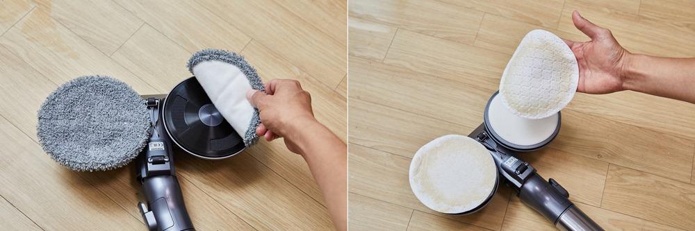 △물걸레 패드를 손쉽게 탈착 할 수 있다. 청소가 끝난 일회용 청소포(오른쪽)를 쉽게 분리해 교체할 수 있다.