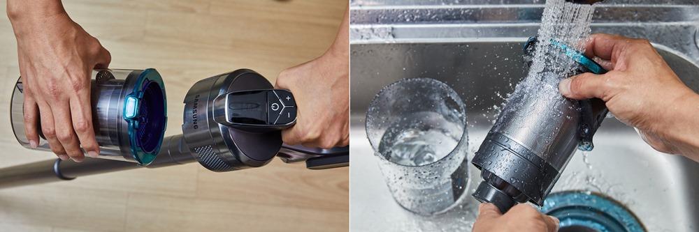 △본체에서 '먼지통'만 분리해 쌓인 먼지를 버릴 수 있다. 그리고 분리한 먼지통 그대로 물속에 넣어 깨끗하게 씻어낼 수 있다.