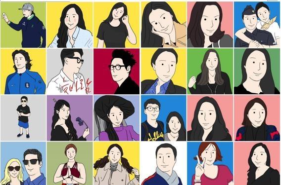 ▲ 박종우 씨가 갤럭시 노트의 S펜으로 그린 프사(프로필 사진). 대부분 SNS로 인연을 맺은 사람들이다.