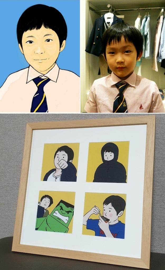 ▲ 갤럭시 노트4로 처음 그린 아들의 그림(위)과 아들에게 선물한 그림 액자(아래)