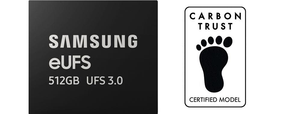 영국 카본 트러스트로부터 친환경 인증인 '탄소 발자국'과 '물 발자국'을 획득한 '512GB eUFS 3.0' 제품 이미지와 카본 트러스트 로고.