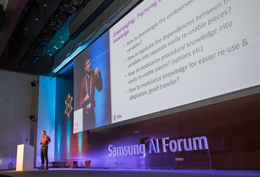 ▲ 4일 삼성전자 서초사옥에서 열린 '삼성 AI 포럼 2019'에서 캐나다 몬트리올대학교 요슈아 벤지오 교수가 '딥러닝에 의한 조합적 세계 이해'라는 주제로 메타 러닝과 강화 학습 등 인공지능 에이전트가 세계를 이해하기 딥러닝 분야 핵심 기술에 대한 강연을 진행했다.