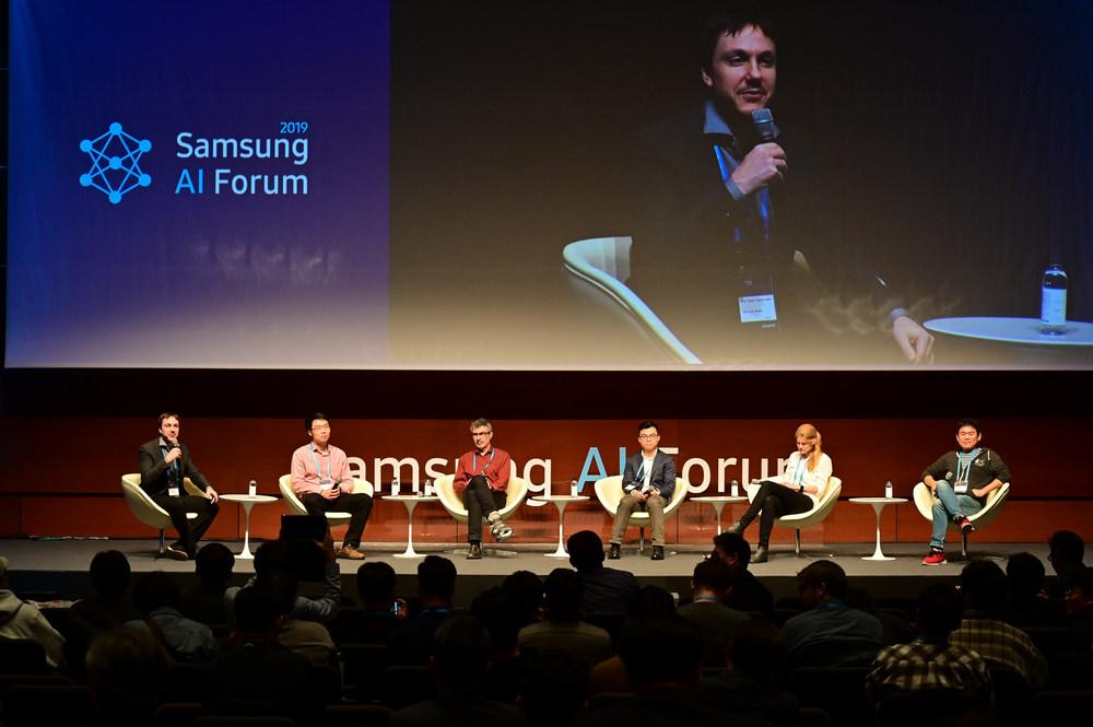 (왼쪽부터) 사이먼 라코스테 줄리앙 교수, 지아 뎅 교수, 요슈아 벤지오 교수, 재키 층 교수, 사냐 피들러 교수, 조경현 교수