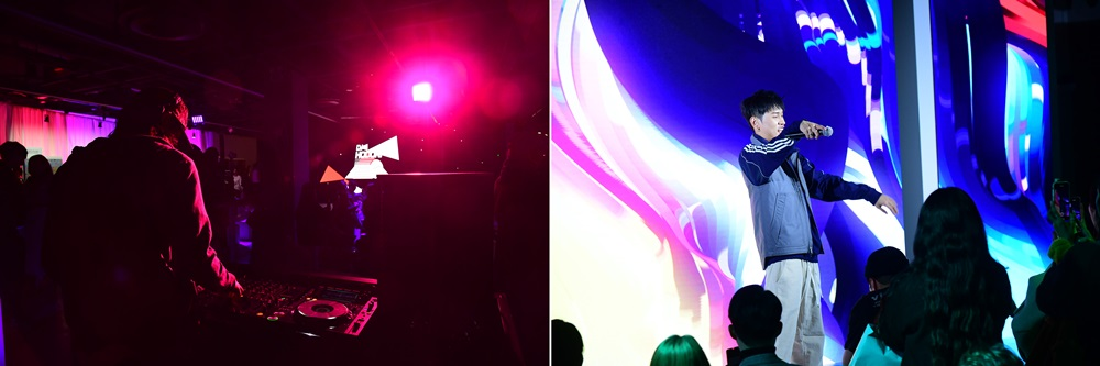 DJ 호도리(HODORI)의 디제잉과 가수 크러쉬의 공연의 공연 모습