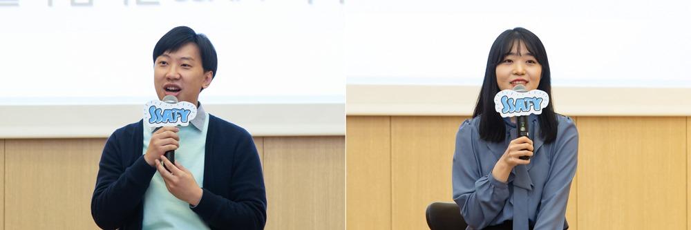 선배와의 대화에 참여하고 있는 황하남씨, 김지승씨