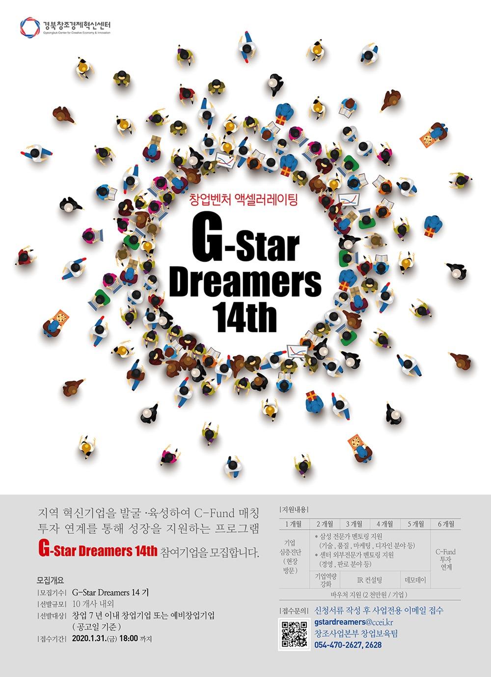 경북창조경제혁신센터 Gyeongbuk Center for Creative Economy & Innovation 창업벤처 액셀러레이팅 G-Star Dreamers 14th 지역 혁신기업을 발굴·육성하여 C-Fund 매칭 투자 연계를 통해 성장을 지원하는 프로그램 G-Star Dreamers 14th 참여기업을 모집합니다. 모집개요 모집기수: G-Star Dreamers 14기 선발규모: 10개사 내외 선발대상: 창업 7년 이내 창업기업 또는 예비창업기업(공고일 기준) 접수기준: 2020.1.31.(금) 18:00까지 지원내용: 1개월>기업 심층진단(현장방문) 2개월> 삼성 전문가 멘토링 지원(기술, 품질, 마케팅, 디자인 분야 등), 센터 외부 전문가 멘토링 지원(경영, 판로 분야 등), 기업역량 강화 3~4개월> 삼성 전문가 멘토링 지원(기술, 품질, 마케팅, 디자인 분야 등), 센터 외부 전문가 멘토링 지원(경영, 판로 분야 등), IR 컨설팅 5개월> 삼성 전문가 멘토링 지원(기술, 품질, 마케팅, 디자인 분야 등), 센터 외부 전문가 멘토링 지원(경영, 판로 분야 등),데모데이 6개월> C-Fund 투자 연계 1개월~6개월 공통> 바우처 지원(2천만원/기업) 접수문의: 신청서류 작성 후 사업전용 이메일 접수 gstardreamers@ccei.kr 창조사업본부 창업보육팀 054-470-2627.2628