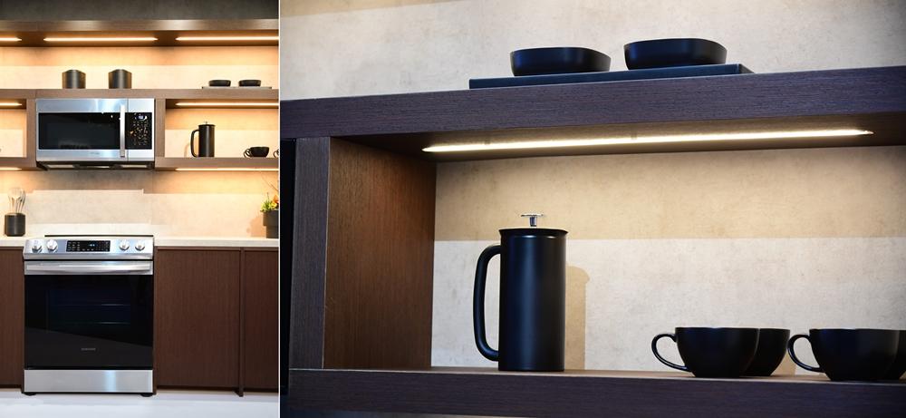▲ 블랙∙실버톤의 빌트인 레인지가 주방 가구와 자연스럽게 어우러졌다. 비슷한 디자인을 지닌 무풍큐브와 큐브 냉장고를 위아래로 쌓으면 공간 효율성은 물론, 스타일리시한 인테리어 효과까지 모두 누릴 수 있다. 와인과 화장품을 각각 최적의 온도에서 보관할 수 있도록 설계된 와인큐브와 뷰티큐브.