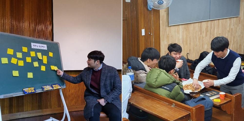 ▲ 학생들의 질문이 적힌 메모를 보고 있는 은성 씨. 학생들과 간식을 먹으며 진로 상담도 진행했다(왼쪽부터).