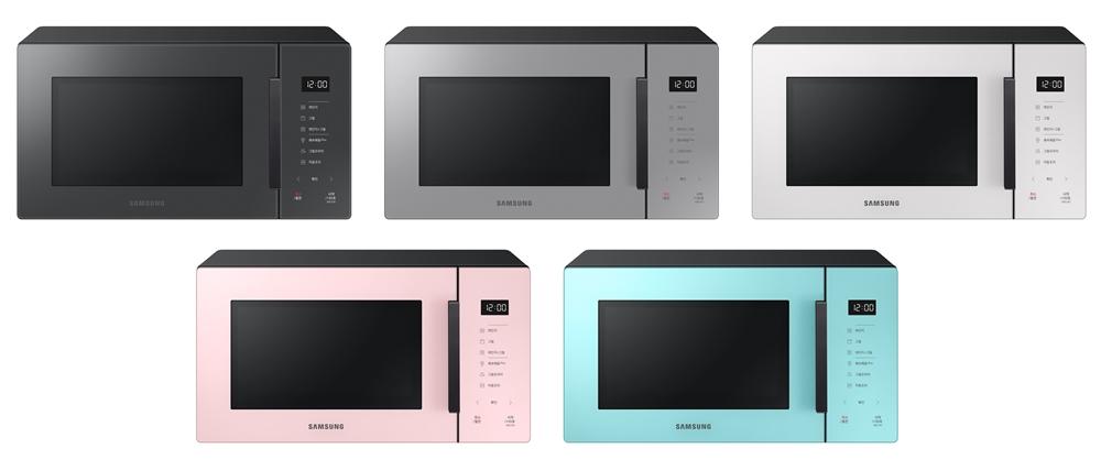 삼성전자 전자레인지 신제품(좌측 상단부터 클린 차콜, 클린 그레이, 클린 화이트, 클린 핑크, 클린 민트 색상)
