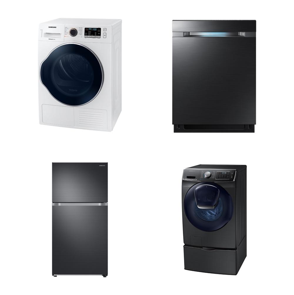 에너지 절감효과가 가장 뛰어난 제품에 부여되는 에너지스타 '최고효율(Most Efficient)' 등급을 취득한 삼성전자의 건조기, 식기세척기, 2도어 냉장고, 드럼세탁기