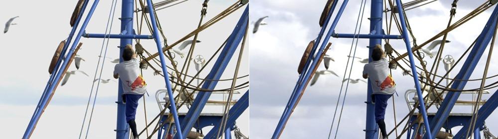 ▲화면 비교. 왼쪽과 달리 계조 표현이 잘 된 오른쪽 화면에서는 배경에서 구름 모양을 확인할 수 있다.