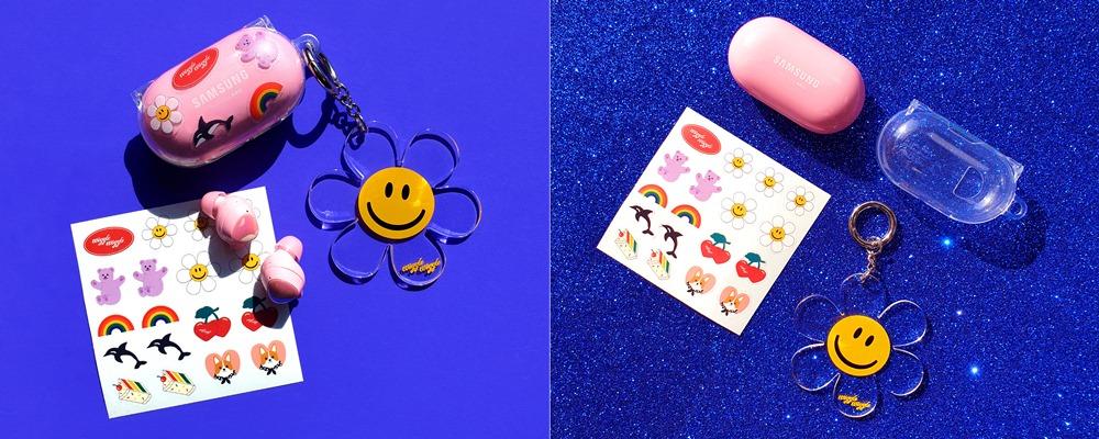 사은품으로 제공되는 '버즈+ 전용 아라리 투명 케이스'와 '위글위글 Smile We Love 키링', '위글위글 DIY 스티커' 3종의 사은품