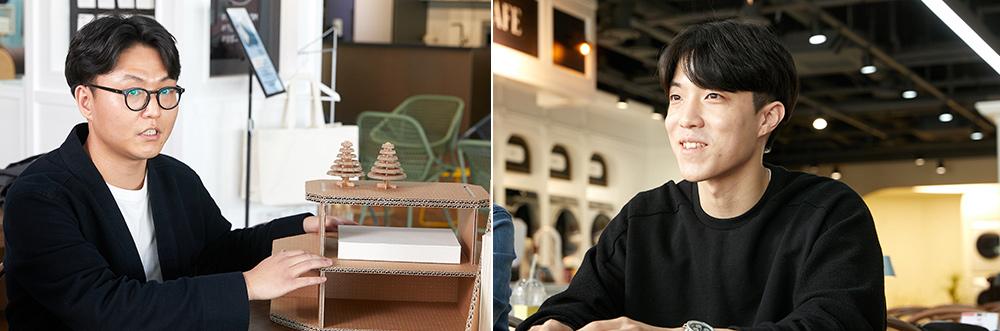 에코 패키지 디자인을 담당한 제품디자인그룹 윤대희 씨(왼쪽)과 Future Experience(FX)디자인그룹 황수현 씨(오른쪽)