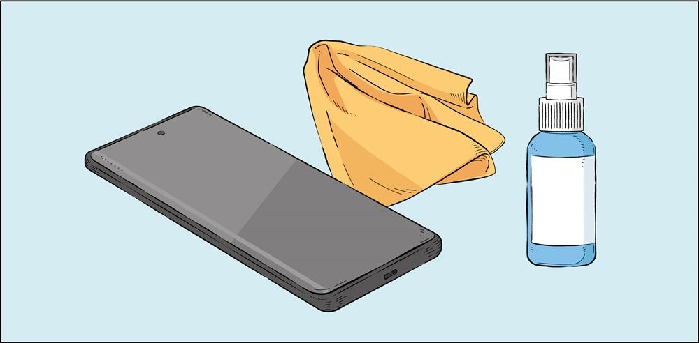 스마트폰 청소에 필요한 물품 소독제, 극세사 천, 스마트폰